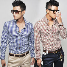 ST048 New Fashion Mens Slim Fit Luxury Casual Dress Shirts 2 Colors 4 US Size