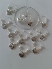 WINE GLASS CHARMS FOR WEDDING TOP TABLE BRIDE GROOM HEN PARTY  ETC WHITE IVORY