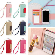 2013 New Wallet Card Holder PU Leather Flip Case Cover For iPhone 4/4S 5/5S 5C