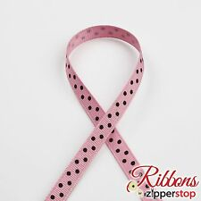 "5/8"" Grosgrain Fashion Polka Dot Ribbon -10 or 100 Yard Roll -Pink w/ Black Dots"