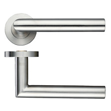 Door Handle Internal Mitred Round Bar Lever on Rose Stainless Steel Furniture