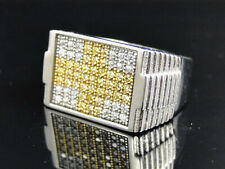 Men's White Gold Finish Stainless Steel Canary Lab Diamond 3D Ridged Pinky Ring