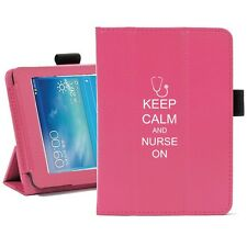"For Samsung Galaxy Tab 3 7.0 7"" Leather Cover Stand Keep Calm and Nurse On"