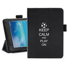 "For Samsung Galaxy Tab 3 7.0 7"" Leather Cover Stand Keep Calm Play On Soccer"