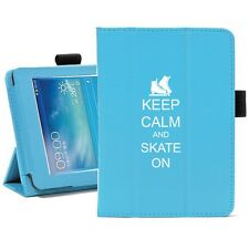 "For Samsung Galaxy Tab 3 7.0 7"" Leather Cover Stand Case Keep Calm Ice Skate On"
