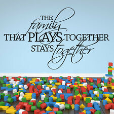 The Family That Plays Together Wall Sticker Family Wall Decal Art