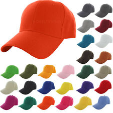 New Plain Baseball Cap Solid Color Blank Curved Visor Hat Adjustable Velcro
