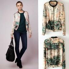 Spring HOT Double Pockets Collared Splicing Floral Print Coat Jacket APLE SML