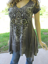 Vocal Mineral Wash Crystals Studs Cross Black Lace Tunic Shirt Sexy BikerS M L X