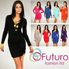 Stunning Cocktail Dress Bodycon Long Sleeve V-Neck Wrinkle Size 8-5.5m1171