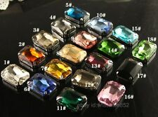15pcs rhinestones 18x27mm Crystal glass big Rectangle Fancy Foiled Stone/beads