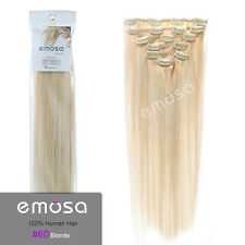 Emosa Natural Soft Brazilian Remy Clip in Straight Human Hair Extensions Blonde