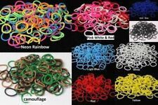 Loom Bands Beaded Pearl Braided Rainbow Mix & Single Colours w Hook & S Clips