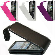 Nokia Asha Various Model Mobile Leather Flip Pouch Case Covers Black, Pink