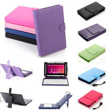 "Stand Leather Case Cover for Android Tablet 10"" 10.2'' Universal w/ USB Keyboard"