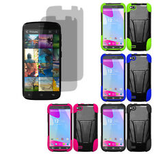 Hybrid Hard Shell Stand Cover Case For Blu Life Play X L102A 2 LCD Guard