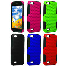 For BLU Life Play L100A HYBRID MESH Case Perforated Rubber Hard Cover Accessory