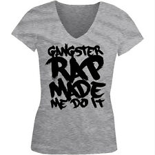 Gangster Rap Made Me Do It - Funny Music Hip Hop Girls Junior V-Neck T-Shirt