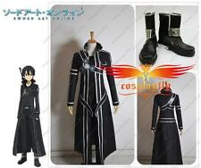Sword Art Online Kazuto Kirito Kirigaya cosplay costume cloth and shoes Full Set