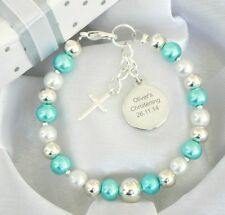 Boys Personalised Engraved Name Bracelet Christening/First Holy Communion Gift