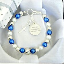 Personalised Christening Day Bracelet for Baby Boys Girls with Engraved Charm