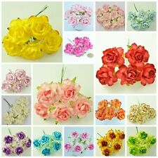 """50 PIECES MULBERRY PAPER ARTIFICIAL LARGE ROSE HEAD FLOWERS DIA. 45 mm./1.8"""""""