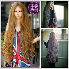 39.5'' 100cm Heat Resistant Womens Girls Long Wavy Cosplay Middle Full Wig
