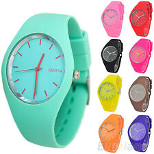 Womens Popular Super Soft Jelly Silicone Sports Watch Students Wrist Watch B27K