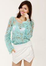 New Summer Sheer Embroidery Floral Lace Crochet Tank Top Mint Shirt Blouse S-XXL