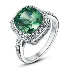 Women's Crystal Emerald Solitaire Ring 18K White Gold GP Wedding R235