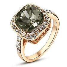 Fashion Big Crystal Finger Cocktail Ring 18K Rose Gold GP Womens R251