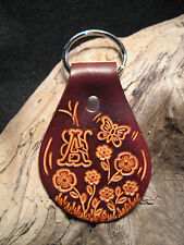 Personalized Initial Vintage 60's / 70's Style Custom Made Leather Key Ring