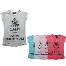 New Girls Kids Keep Calm and Do the Harlem Tshirt Top Short Sleeve Age 7 - 13