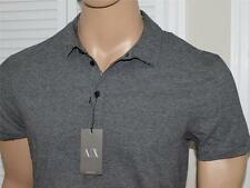 Armani Exchange Pima Cotton Striped Polo Shirt Black/Heather Gray NWT
