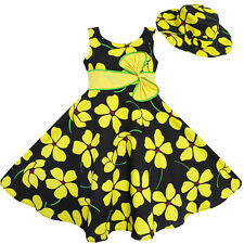 Sunny Fashion 2 Pecs Girls Dress Sun Hat Bow Tie Yellow Summer Beach Size 4-12