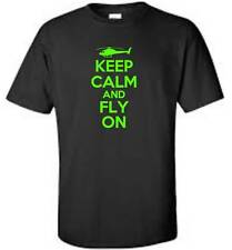 Keep Calm And Fly On Big And & Tall T-Shirt Funny Helicopter Pilot Mens Tee