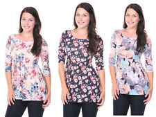 Women Casual Dress Scoop Neck Baby Doll Front Gather Long Tunic Top Cute XS-XL