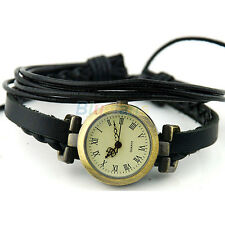 Womens Vintage Trendy Weave Wrap Around Leather Bracelet Quartz Wrist Watch