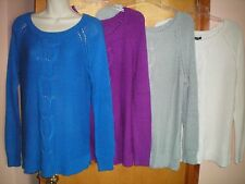 NWT NEW womens blue gray white APT 9 cable knit front tunic sweater $50 retail