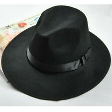 Unisex Retro Fedora Style Hats Blower Jazz Hat Trilby Derby Cap Coffee Black S