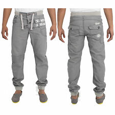 New Mens ENZO Designer Branded Grey Cuffed Jogger Jeans Pants Waist Size 28-48