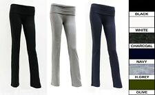 Women & Junior New Heavy Yoga Pants Foldover Waist Band Comfy Casual Size:S/M/L