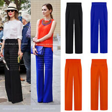 Women's Summer Chiffon Palazzo High Waist Career Wide Leg Trousers Loose Pants