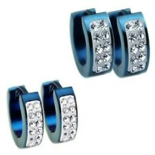 1 Pair Hoop earrings Studs Stainless steel Rhinestone blue black gold