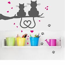Wall tattoo - Cat couple, Heart in the tails, wall sticker