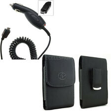 Car Charger +Vertical Leather Belt Clip Case Pouch for Alcatel Cell Phones NEW!