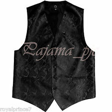 BLACK Paisley Tuxedo Suit Dress Vest Waistcoat Formal Party Prom Wedding XS - 6X