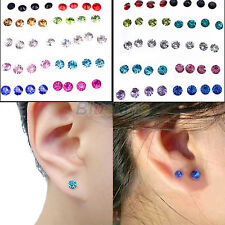 Cool Lady Boys Clear Multicolor Crystal Earrings 20 Pairs Lots Shiny Cute Studs