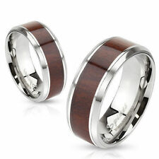 Mens/Womens Stainless Steel Wood Inlay Band Ring/Wedding/Couples/Size 5-13(1002)