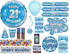 Boys Guys Happy Birthday Party Blue Tableware Decorations Banner Invites Bags